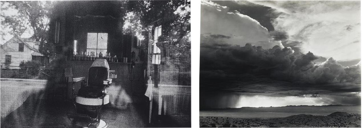 Left: Robert Frank, 'Mcclellanville, S. C.' (Barber Shop Through Screen Door), 1955. $80,000-120,000; Right: Laura Gilpin, Storm from La Bajada Hill, New Mexico, 1946. $20,000-30,000