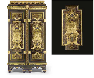 A LOUIS XIV ORMOLU-MOUNTED EBONY, CUT-BRASS, TORTOISESHELL,
