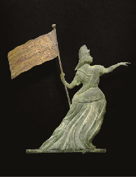 A GILT MOLDED COPPER PAINTED AND SHEET IRON GODDESS LIBERTY