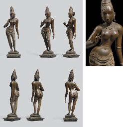 A HIGHLY IMPORTANT AND LARGE BRONZE FIGURE OF PARVATI <BR>