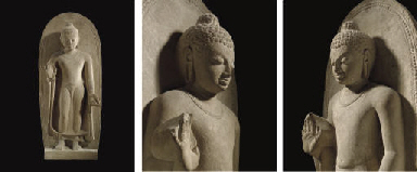 A HIGHLY IMPORTANT BUFF SANDSTONE FIGURE OF BUDDHA <BR>