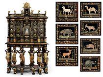 A MAGNIFICENT LOUIS XIV GILT-BRONZE AND PIETRA DURA-MOUNTED