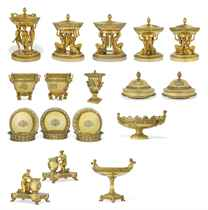 DEMIDOFF SERVICE<BR> A FRENCH-EMPIRE SILVER-GILT DINNER-SERV
