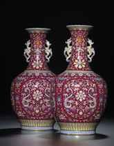 AN EXCEPTIONALLY FINE AND RARE PAIR OF RUBY-RED GROUND <I>FA