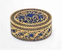 AN IMPORTANT GEORGE II ENAMELLED GOLD SNUFF-BOX<BR>