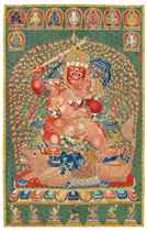 A HIGHLY IMPORTANT IMPERIAL EMBROIDERED SILK <I>THANGKA</I>