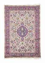 A VERY FINE SILK KASHAN RUG, CENTRAL PERSIA<BR>