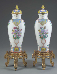 A PAIR OF SOLDIER VASES AND COVERS WITH THE ARMS OF PHILIP V
