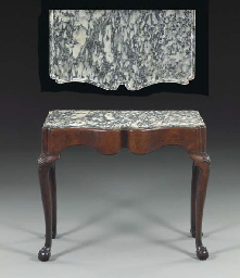 THE CORTELYOU FAMILY CHIPPENDALE CARVED MAHOGANY MARBLE TOP
