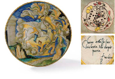 AN EARLY 16TH CENTURY URBINO MAIOLICA A ISTORIATO DISH