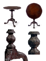 THE FISHER-FOX FAMILY CHIPPENDALE CARVED MAHOGANY TEA TABLE