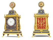 A FINE ENGLISH ORMOLU AND GUILLOCHE ENAMEL QUARTER-CHIMING,