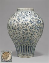 A RARE AND IMPORTANT BLUE AND WHITE PORCELAIN JAR