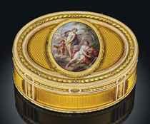 AN IMPORTANT LOUIS XVI ENAMELLED THREE-COLOUR GOLD SNUFF-BOX