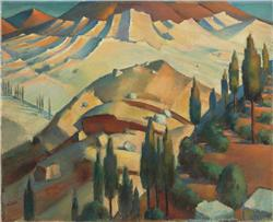 Mahmoud Said (Egyptian, 1897-1964) View of the Bekaa Valley