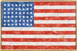 JASPER JOHNS (b. 1930) Flag encaustic and newspaper collage