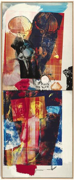 Robert Rauschenberg Trapeze  signed, titled and dated '2 CA