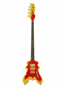 Peter Cook custom-made bass guitar, of flame design. Owned b