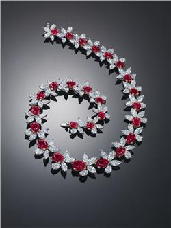 A Burmese ruby (62.46 cts) and diamond necklace, by James W