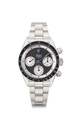 An extremely important stainless steel chronograph wristwatc