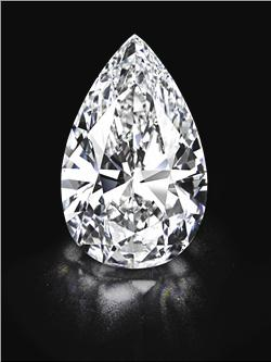 A pear-shaped, D colour, Type IIA, Flawless, diamond of 101.