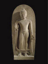 A HIGHLY IMPORTANT BUFF SANDSTONE FIGURE OF BUDDHA