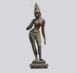 A HIGHLY IMPORTANT AND LARGE BRONZE FIGURE OF PARVATI