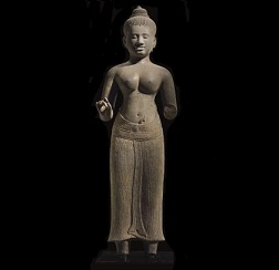 A HIGHLY IMPORTANT AND LARGE SANDSTONE FIGURE OF UMA