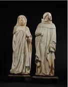 DEUX PLEURANTS EN ALBATRE SCULPTE PROVENANT DU TOMBEAU DE JEAN DE FRANCE (1340-1416), DUC DE BERRY ETIENNE BOBILLET ET PAUL MOSSELMANN (CONNU DE 1441 A 1467), BOURGES, VERS 1450-1453