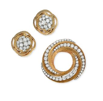 A Group Of Diamond Set Jewellery Comprising Brooch And Pair Ear Clips By Bulgari Circa 1960 Sold For 7 500 10 838