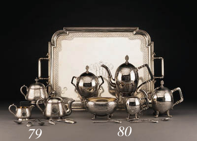 A silver Tea and Coffee Service