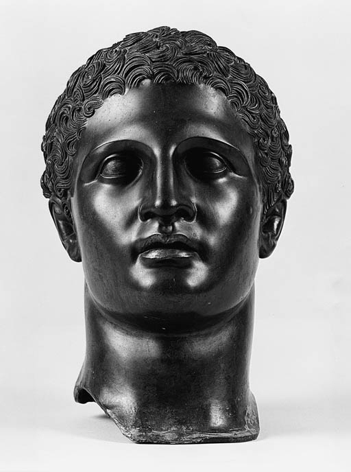 A bronze head of a youth