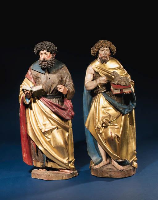 A pair of parcel-gilt polychro