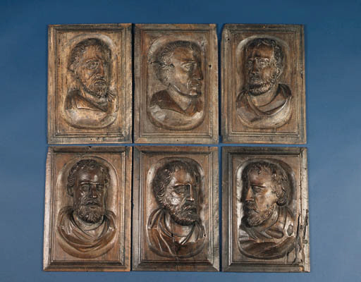 A set of six rectangular carve