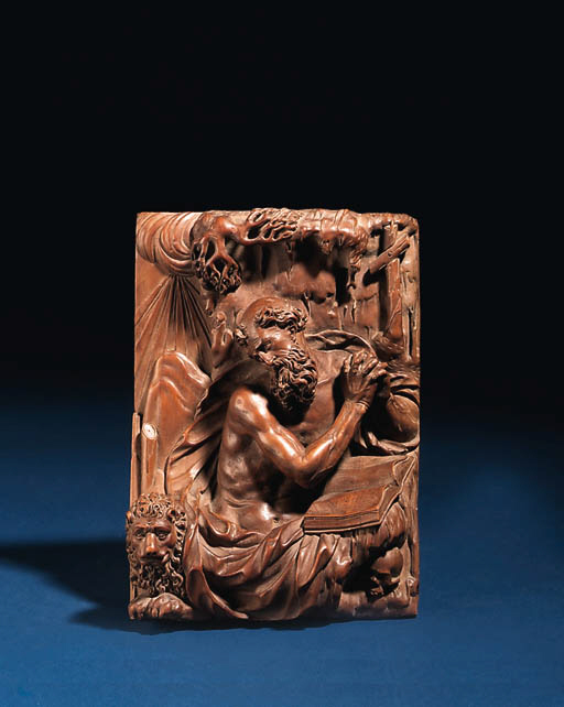 A CARVED RECTANGULAR BOXWOOD R