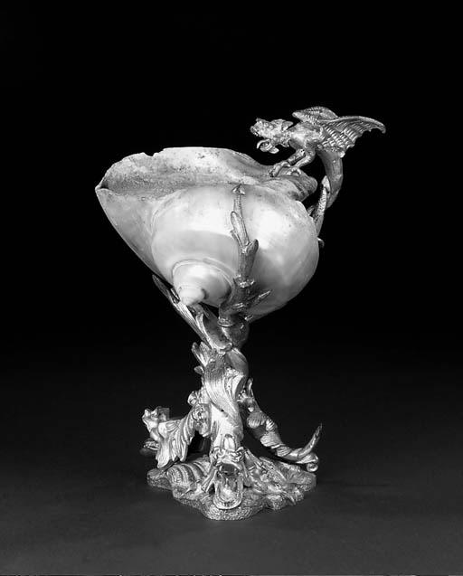 A gilt-bronze nautilus cup