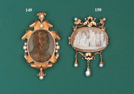 A carved oval cameo depicting