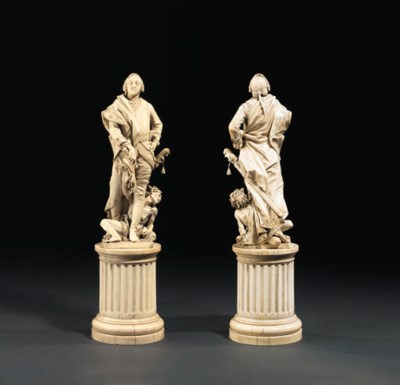 A carved ivory group of a rule