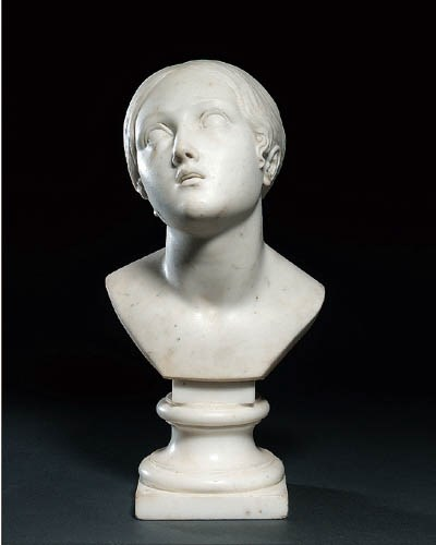 A MARBLE BUST OF A GIRL