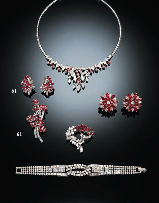 A SUITE OF DELICATE RUBY AND D