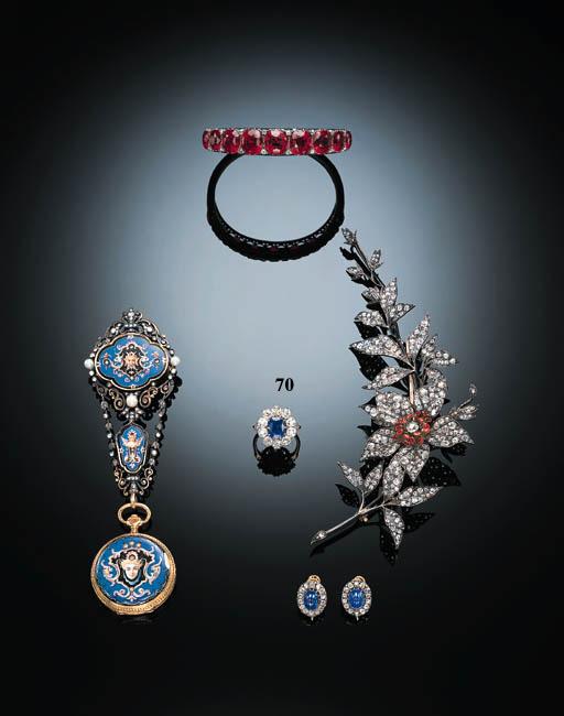 A FINE SAPPHIRE AND DIAMOND CL