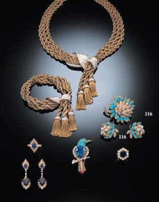 A SUITE OF TURQUOISE, DIAMOND