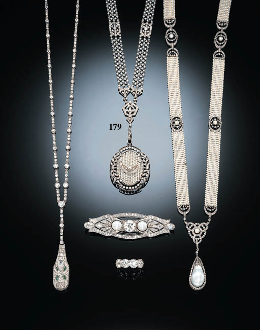 A DELICATE BELLE EPOQUE SEED PEARL AND DIAMOND PENDANT NECKLACE, BY TIFFANY & CO.