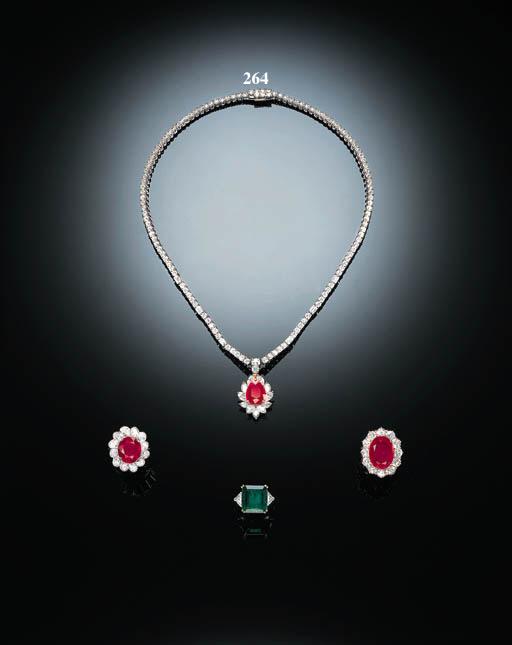 A RUBY AND DIAMOND PENDANT NEC