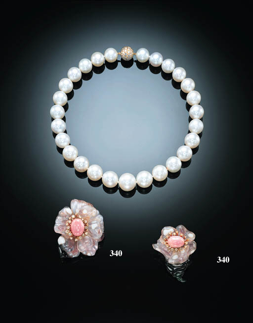 A PAIR OF ELEGANT CONCH PEARL AND GEM-SET EARCLIPS, BY JAR