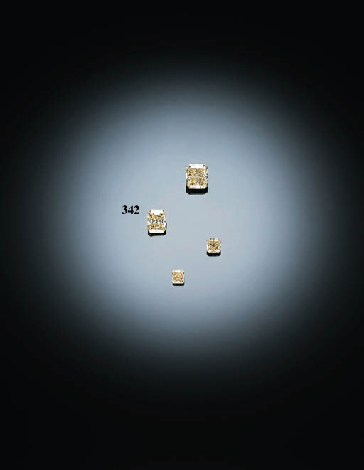 AN UNMOUNTED MODIFIED RECTANGULAR-CUT YELLOW DIAMOND