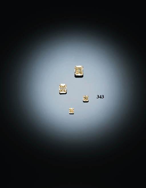 AN UNMOUNTED MODIFIED RECTANGULAR-CUT FANCY YELLOW DIAMOND