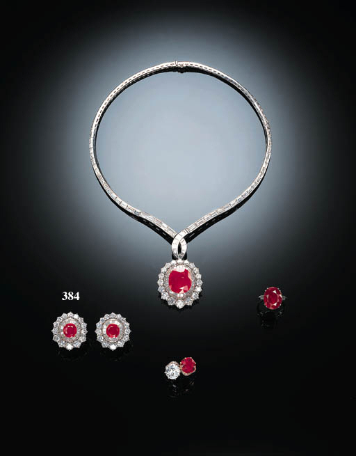 A PAIR OF FINE RUBY AND DIAMON