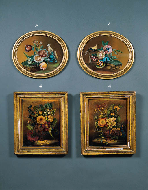 A PAIR OF FLORAL STILL LIVES IN GILTWOOD FRAMES