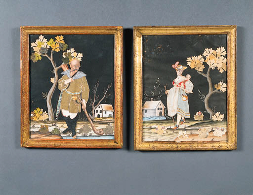 A PAIR OF VICTORIAN POLYCHROME PAPER CUT-OUTS